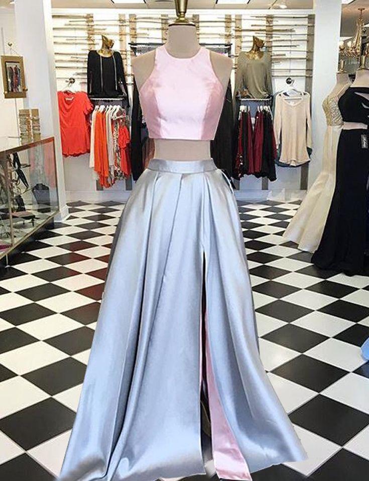 two piece prom dress, long prom dress, 2017 prom dress