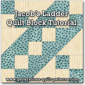 Learn to make a Jacob's ladder quilt block. Instructions included for 5 sizes. One of many blocks in our Free Quilt Block Patterns Library.