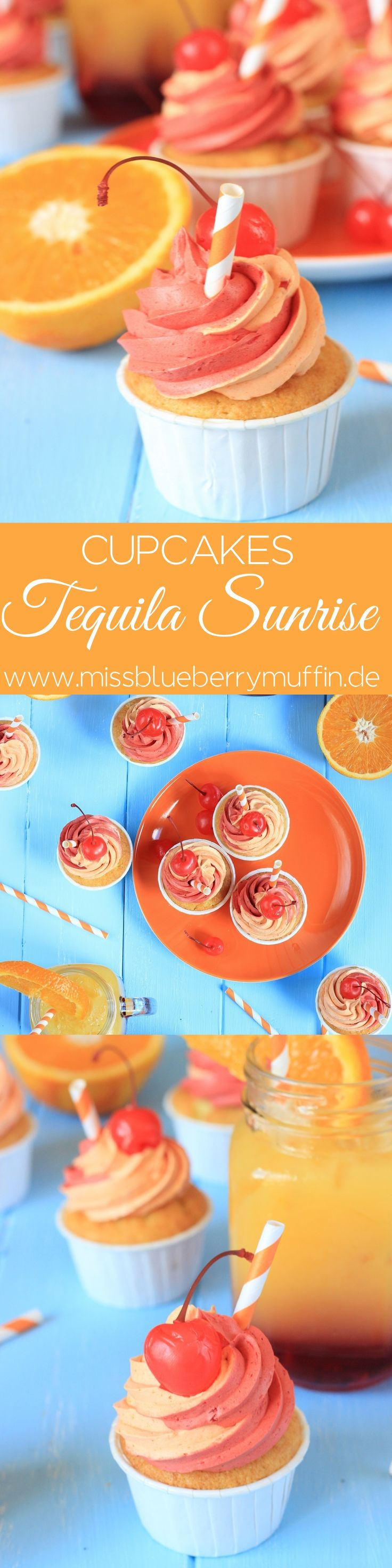 Tequila Sunrise Cupcakes // Cocktail Cupcakes for your summer party <3