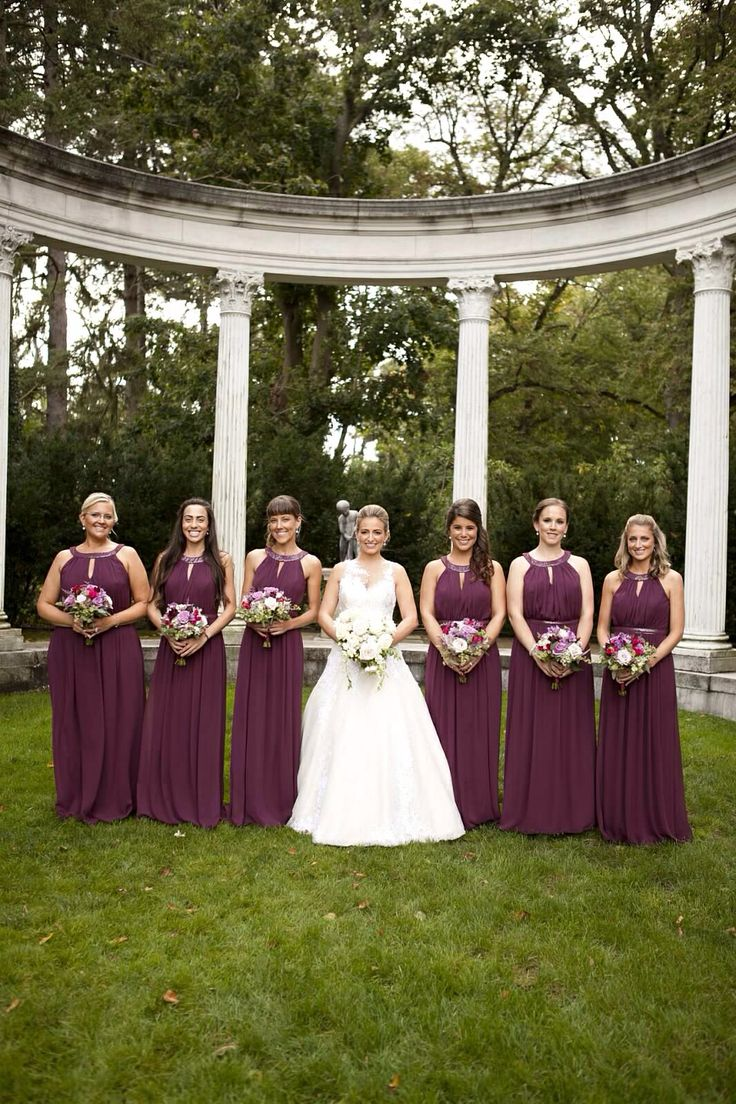 Long chiffon bridesmaid dresses by dessy in color bordeaux custom long chiffon bridesmaid dresses by dessy in color bordeaux custom bridal gown by veluz reyes pic by white pear photo old westbury gardens long ombrellifo Gallery