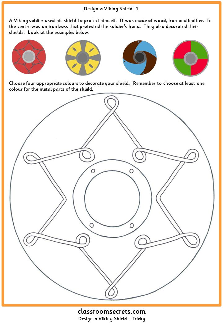 Worksheet activity to design a viking shield. Aimed at Primary Key Stages 1 and 2. Differentiated six ways.