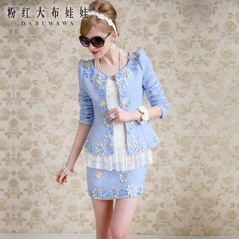 Original New Fashion 2014 marca primavera e no outono luz azul fino flor elegante lã ocasional curto do revestimento das mulheres Plus Size