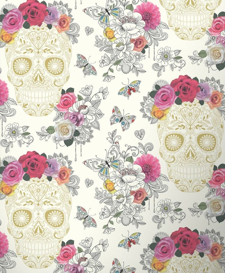 Rasch Wallpaper | Calavera Sugar Skull White/Multi | 278026