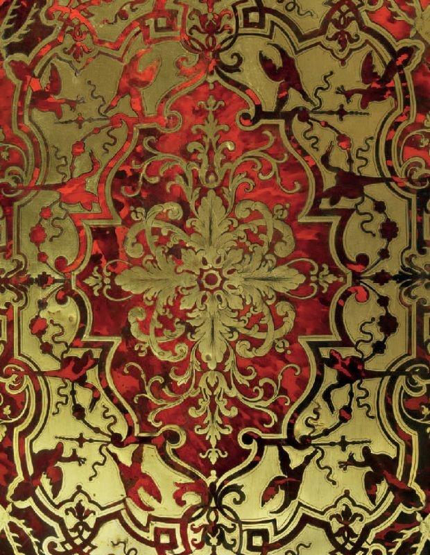 Beau bureau Mazarin, à trois faces en placage d'écaille rouge et de cuivre, à décor gravé (détail). Epoque Louis XIV