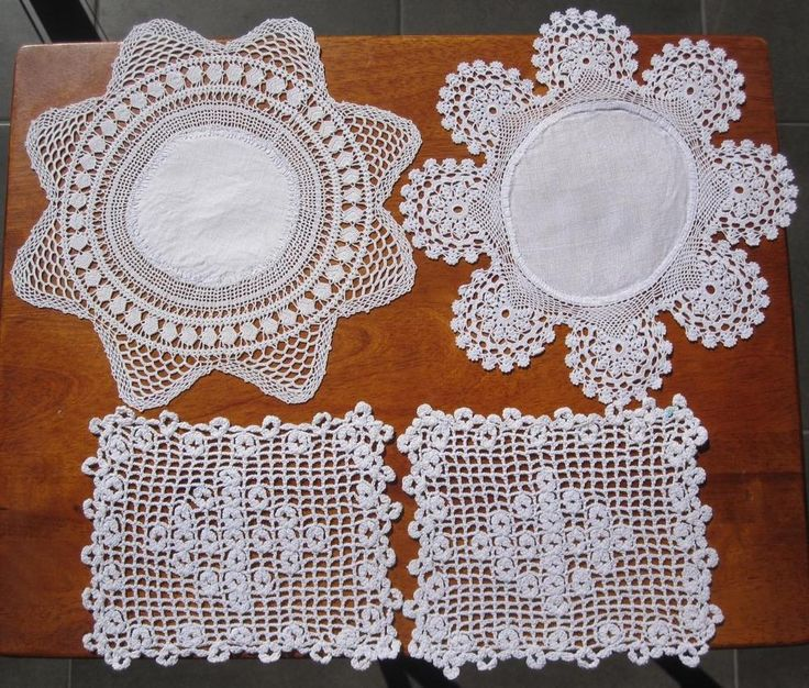 Four Vintage Crochet/Lace/Linen DOILIES 2  x  25cms Diameter Pair  18cms x 14cms Colour is White. FAULT: 2mm mark on one of the pair but hardly noticeable and does not detract from the overall appearance. *Washed *Starched *Ironed so comes to you ready to use.