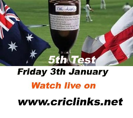 January 3rd .Friday .5th and final Ashes Test will be played at Sydney.Aussis eyeing to White wash ,other hand england will play for pride but qustion is can they survive.Match will be start 4.30 Am pst.watch live action only on http://www.criclinks.net/