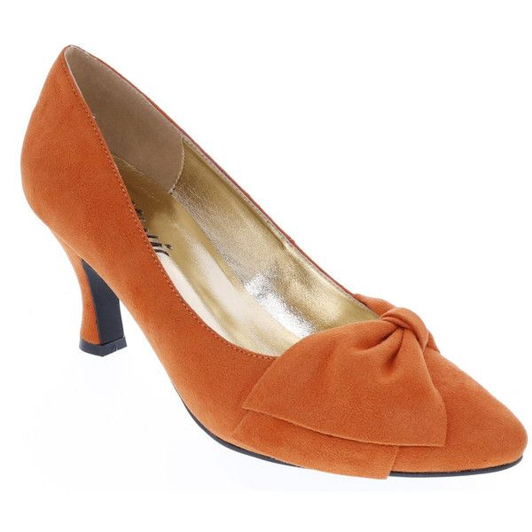 Bellini Charm Women's Orange Pump (90 CAD) ❤ liked on Polyvore featuring shoes, pumps, orange, mid-heel pumps, asymmetric shoes, orange pumps, bow pumps and bellini footwear