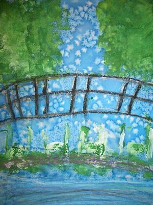 We started this project by using watercolor paint to create a wash for the sky and ground. While the paper was still wet we sprinkled sea salt on the paper. We then used sponges to create the trees in the background and the lily pads in the foreground. We made sure to layer our paint using highlights and shadows. Oil pastel was used for the bridge. Hope this description helps.