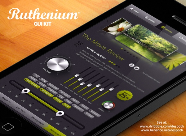 Ruthenium GUI Sample by Alexey Kolpikov, via Behance