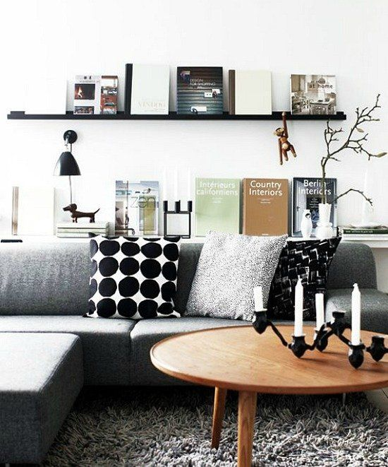 Estante detrás del sofá, una opción con muchas ventajas Ideas de decoración - Miv Interiores