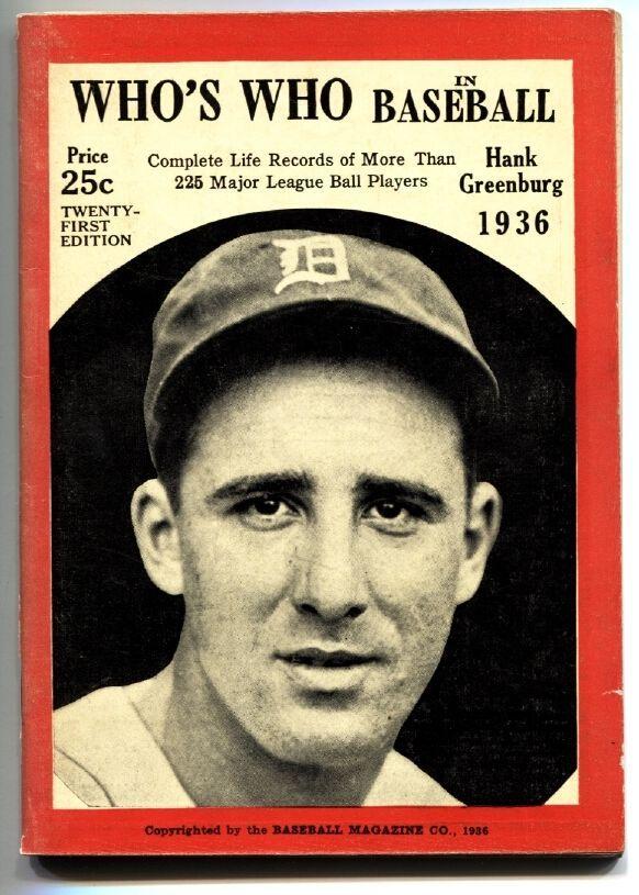 1936 Who's Who in Baseball Hank Greenberg