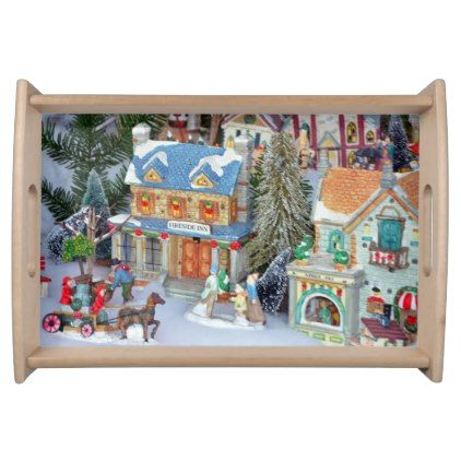 Miniature christmas village serving tray - traditional gift idea diy unique