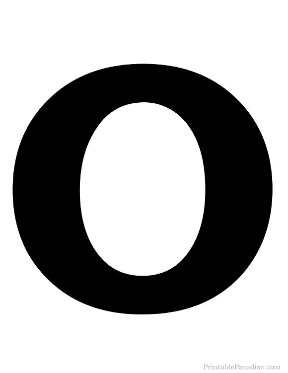 Printable Solid Black Letter O Silhouette