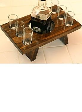 Wood Shooter #Bar Set.  Each set is handcrafted and stained by a third-generation craftsman and includes six shooter #glasses, making it the perfect #gift. | @Caskers