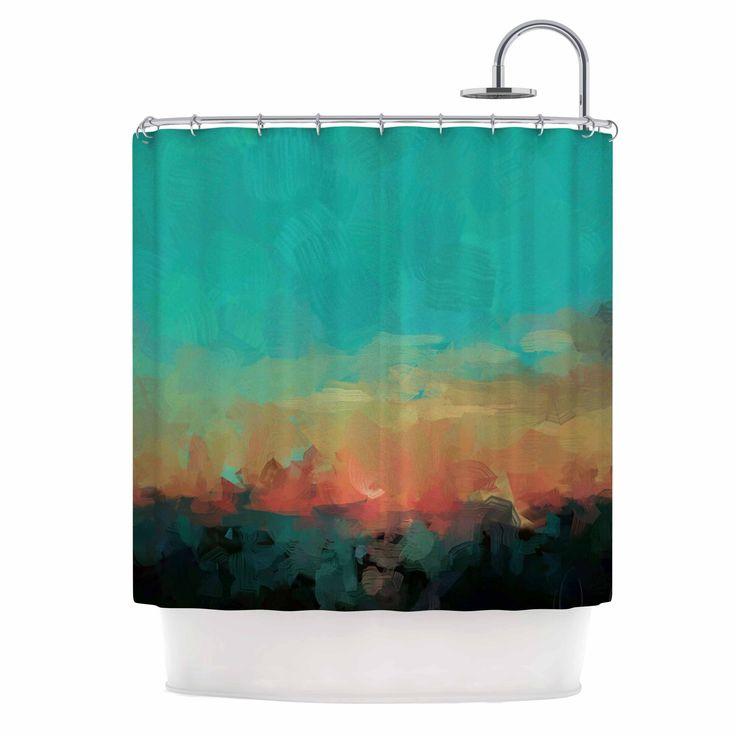 "Oriana Cordero ""Martinique"" Orange Teal Shower Curtain"
