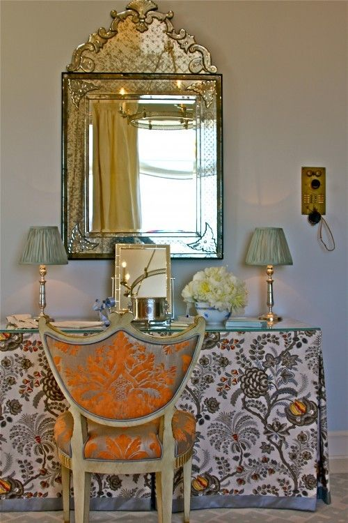 damask chair and skirted dressing table