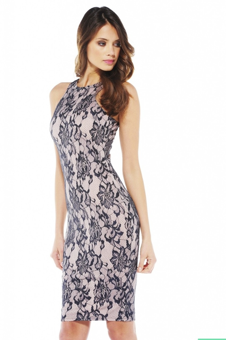 Naomi lace sleeveless cowl back bodycon dress