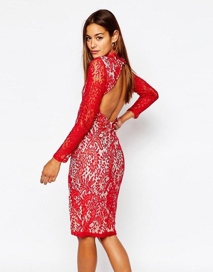 Изображение 2 из Кружевное облегающее платье с высоким разрезом Missguided