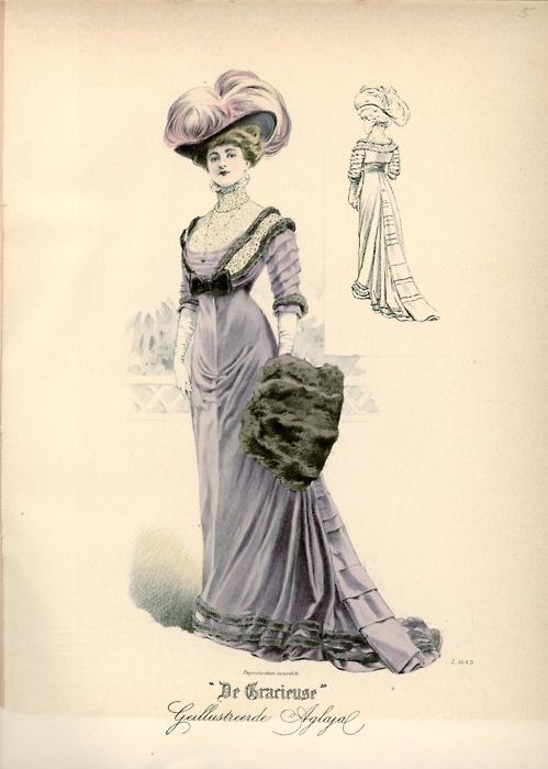 nice Fashion plate, 1908 the Netherlands, De Gracieuse.