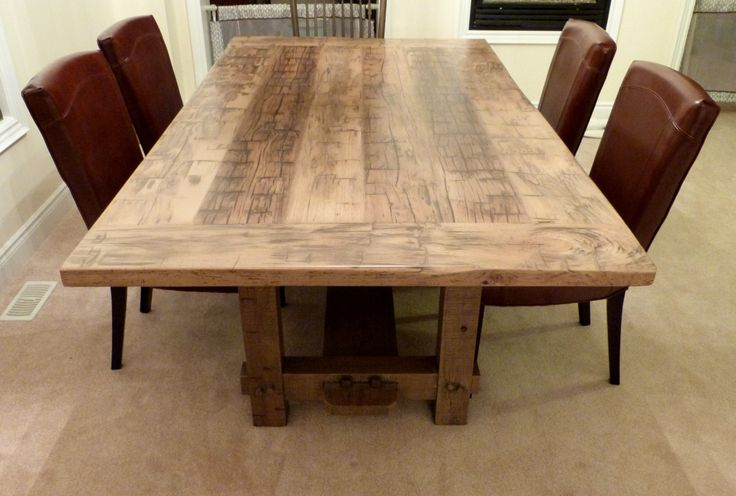 Hand hewn elm rustic 4x4 trestle table with weathered for 4x4 dining table