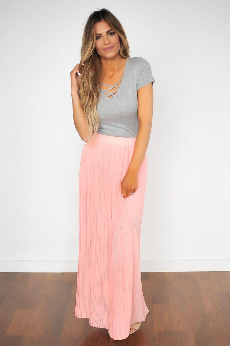 Pleated Maxi Skirt- Peach - Dottie Couture Boutique
