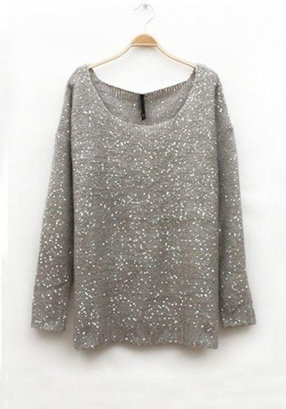 Gray Plain Round Neck Wool Blend Sweater