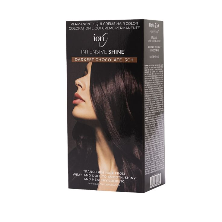Ion Intensive Shine Hair Color Kit Darkest Chocolate 3ch Hair Color Kit Ion Hair Colors Hair Color Box Hair Dye