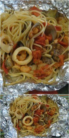Spaghetti alla pescatora al cartoccio ! #spaghetti #spaghettipescatora #ricettegustose