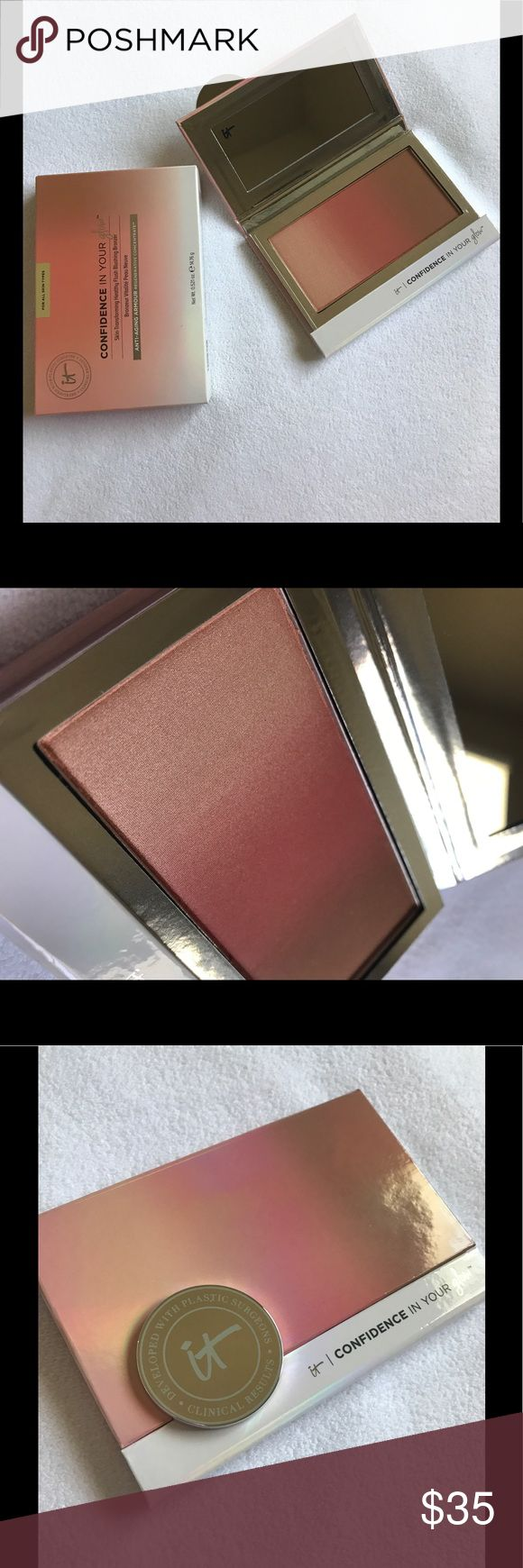 """MAKE AN OFFER! It Cosmetics glow Confidence in Your Glow™  IT'S YOUR BLUSH, BRONZER AND HIGHLIGHTER IN ONE SWEEP! Skin-Transforming Healthy Flush Blushing Bronzer....... color: """"instant warm glow""""......... (NOT FINAL PRICE!!!!! PRICED TO RECEIVE OFFERS!) It COSMETICS Makeup Blush"""