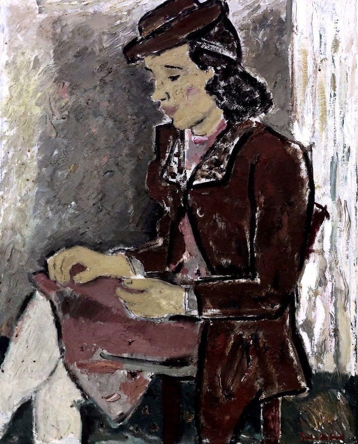 Jeune fille en manteau brun (Girl in brown coat), 1941, by Gustave De Smet (1877–1943), .