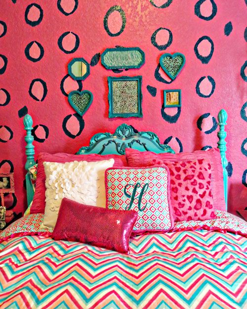 Caden Lane pink and teal chevron bedding - teal bed - leopard wall.