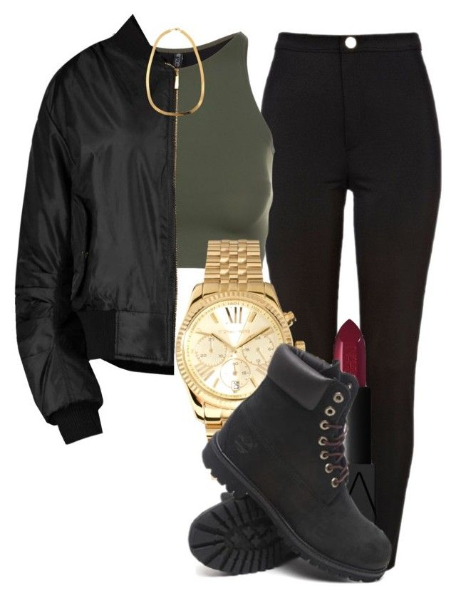 """black out"" by livingfaded ❤ liked on Polyvore featuring River Island, Onzie, Boohoo, NARS Cosmetics, Michael Kors and Timberland"