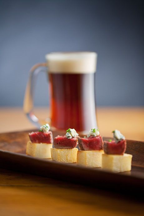 This looks yumazing.  Beef Tenderloin Petit Four atop a crisp potato cube with gorgonzola crumbles...Phoenix Bride and Groom Magazine, Keith Pitts Photography, Jennifer's Catering