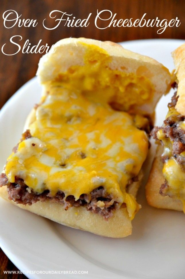 """Oven Fried Cheeseburger Sliders... Made this tonight with ground turkey and the whole family liked it (Bradley said it was """"okay"""")"""