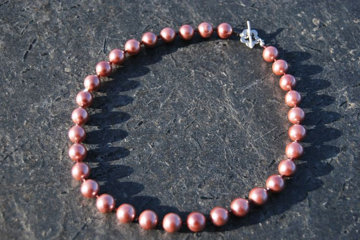 Pink pearls and burgundy crystals necklace by NorthernlightsNO on Etsy