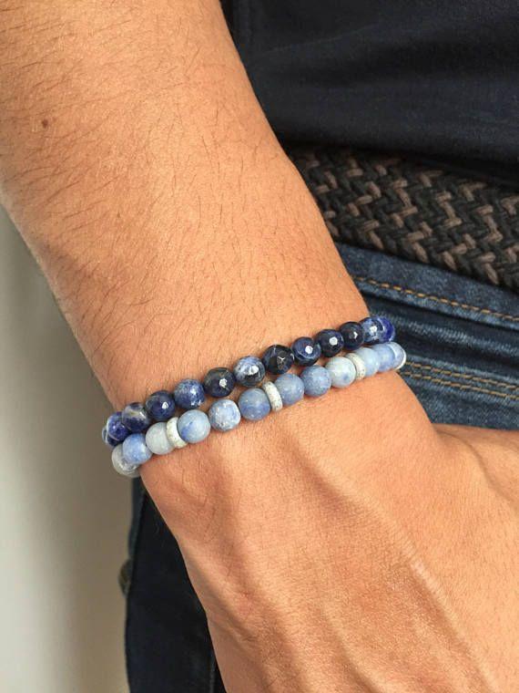 Bracelet Homme Aventurine bleu pierre semi précieuse mat
