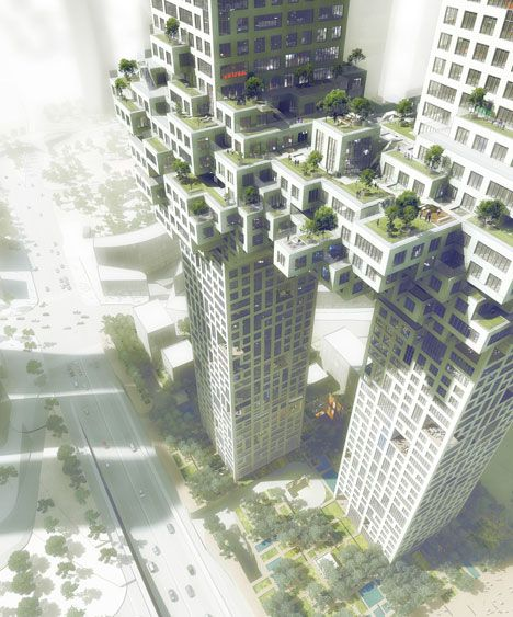 So tight. Dutch architects MVRDV have designed two skyscrapers for Seoul, Korea, that will be joined at the hip by a pixelated cluster.