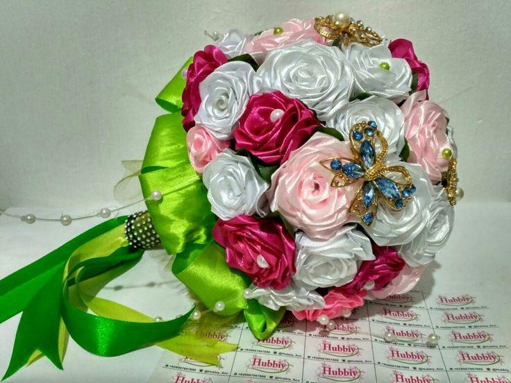 Rose Satin Hand Bouquet