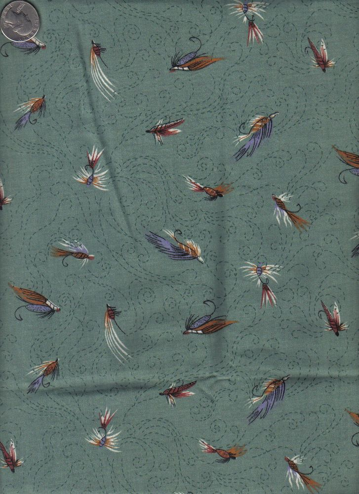 Fly fishing theme green background 1 2 yd cotton quilt for Fishing themed fabric