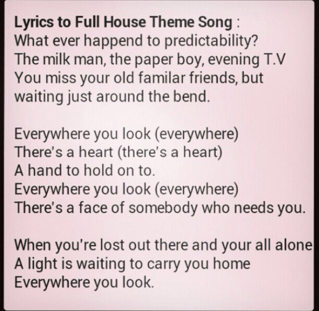 Full House lyrics, depression inspirational