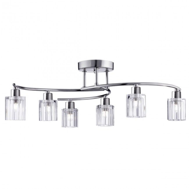 Ice Block Satin Silver 6 Light Curved Semi-flush With Clear Shaped Glass