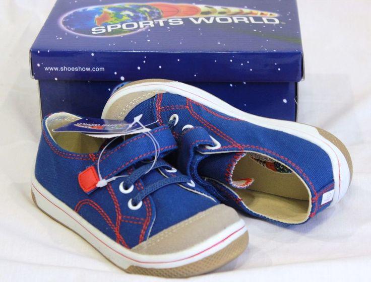 NEW Toddler SNEAKER Shoes UNISEX Sz 10 VELCRO Blue Red Tan Canvas Preschool NIB #SportsWorld #Athletic