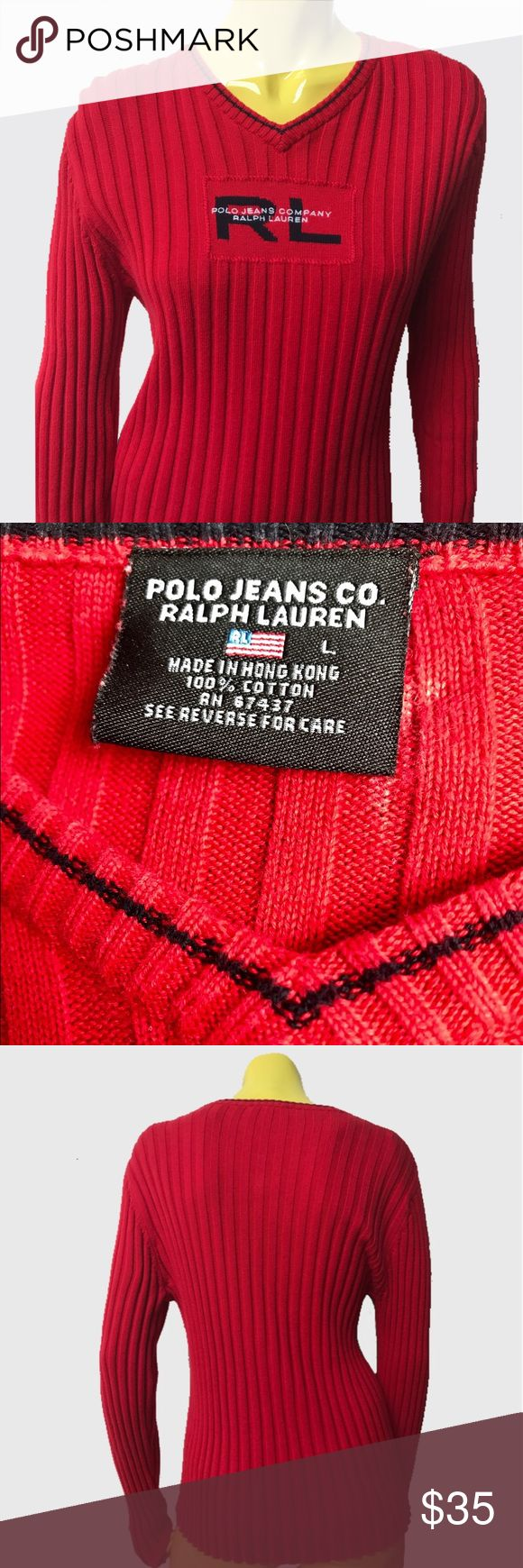 "• 🐎 VTG 90s Polo Jeans Ralph Lauren Sweater 💯• Classic ® RL ® spell out, soft stretchy sweater with not a flaw to note 🔺✔️✨   • Polo Jeans Co. Ralph Lauren • L • 💯% Cotton • Made in Hong Kong 🇭🇰 •   • Length: 22"" • • Sleeve: 24"" • • Bust: 19"" •   . • * • . • ✶ • . • * • .  #vintage #vtg #retro #1990s #1990 #90 #90s #ralph #lauren #polo #jeans #co #tommy #Hilfiger #logo #red #blue #american #knit #ribbed #cotton #soft #sweater #prep #sport #thrift #shop #realbazaar Ralph Lauren Sweaters"