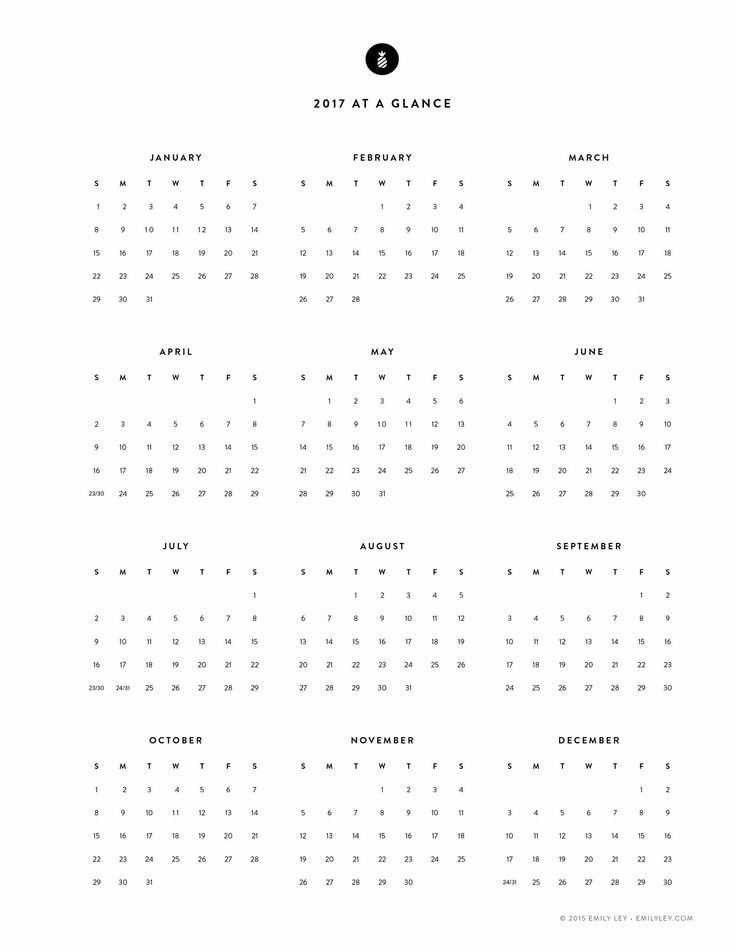 Free Printable, 2017 Yearly Calendar – Emily Ley                                                                                                                                                                                 More