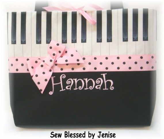 BEYOND cute piano tote bag!!! I want one (with my name of course)