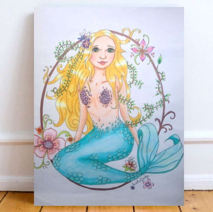 Mermaid art print. Mermaid poster wall art. Beautiful print of a lovely mermaid. She's beautiful for your nursery study or bedroom. Even in your living room she will bring a sparkle Visit www.lumisadesign.nl for more art prints posters postcards and totes