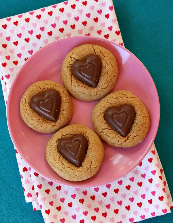 Peanut Butter and Chocolate Heart Cookies.