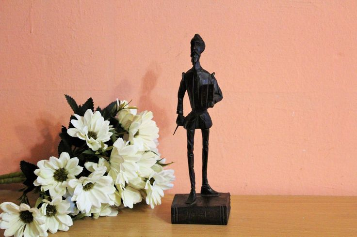 Vintage Carved Dark Wood Don Quixote With Book Statue Antique Figurine Spain Wooden Statue Home Decor Library Decor Office Decor by Grandchildattic on Etsy