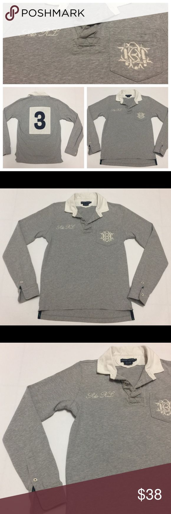 Polo Ralph Lauren Rugby Shirt Women's M Excellent Condition. No stains, no holes, no rips. Gently used. Expensive shirt new. Huge #3 Patch Sewn on the back. Polo RL and scribble logo embroidered on the front side. Women's Medium. Shipping Priority Mail same day or next day! Polo by Ralph Lauren Tops Blouses