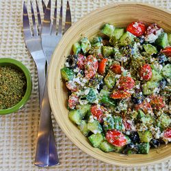 This looks so yummy.  I'm going to try it.: Recipe, Olives Oil, Cottage Cheese Salad, Chee Salad, Veggies Salad, Kalyn Kitchens, Amazing Cottages, Green Onions, Cottages Cheese Salad